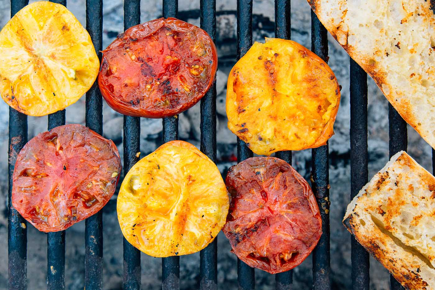 Grilling tomatoes over a campfire