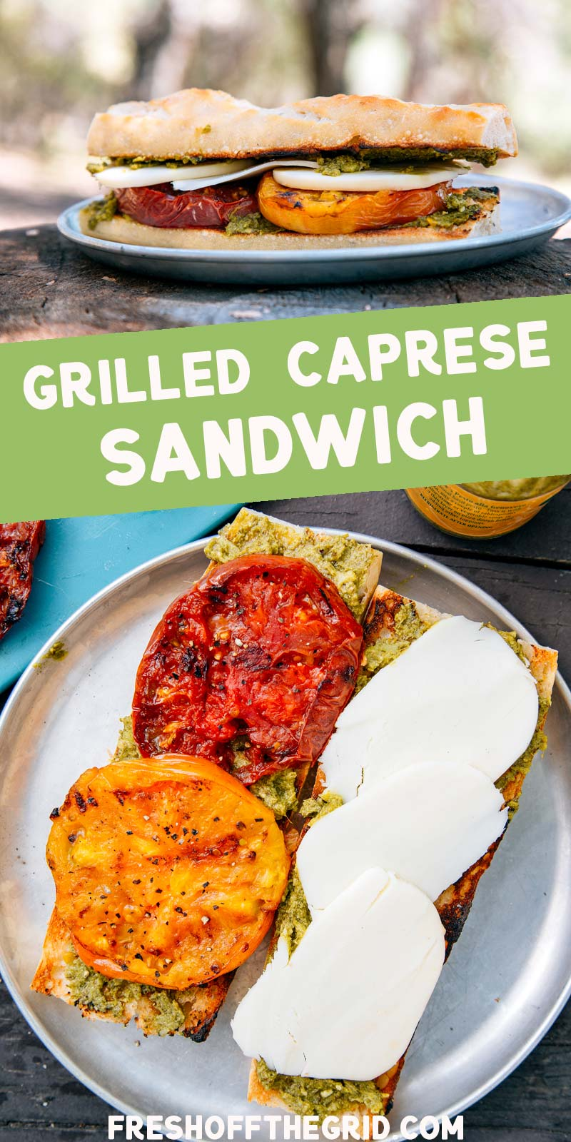 This grilled Caprese sandwich is the perfect summer lunch: perfectly ripe tomatoes, mozzarella cheese, and basil pesto capture all the fresh flavor of summer. This Caprese sandwich is perfect for camping, picnics, and summer BBQ's! via @freshoffthegrid