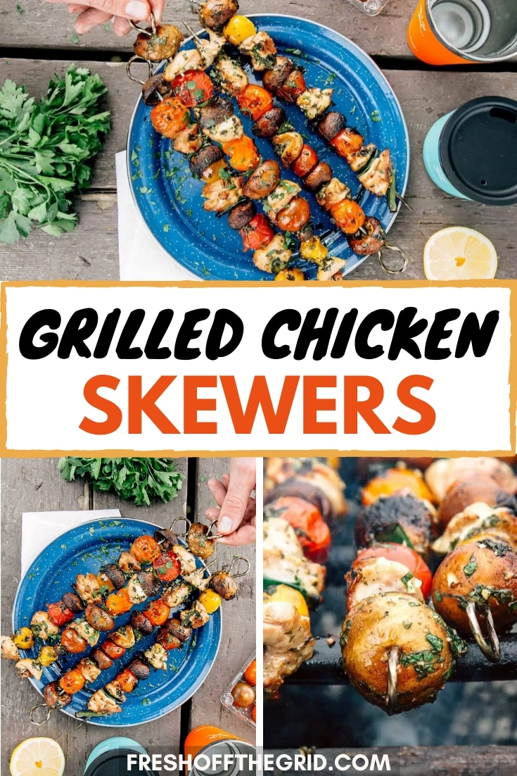 Marinated Grilled Chicken Skewers with veggies are a perfect camping meal!  These can cook right over your campfire or on a grill and are full of flavor. via @freshoffthegrid