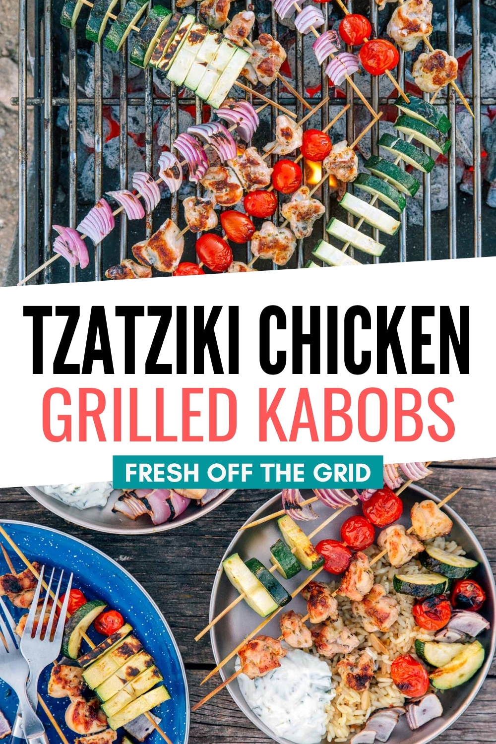 These Grilled Chicken Skewers with Tzatziki Sauce are an easy camping meal to grill over the campfire! Many of the components can be prepped ahead of time so that the meal comes together without any fuss. via @freshoffthegrid