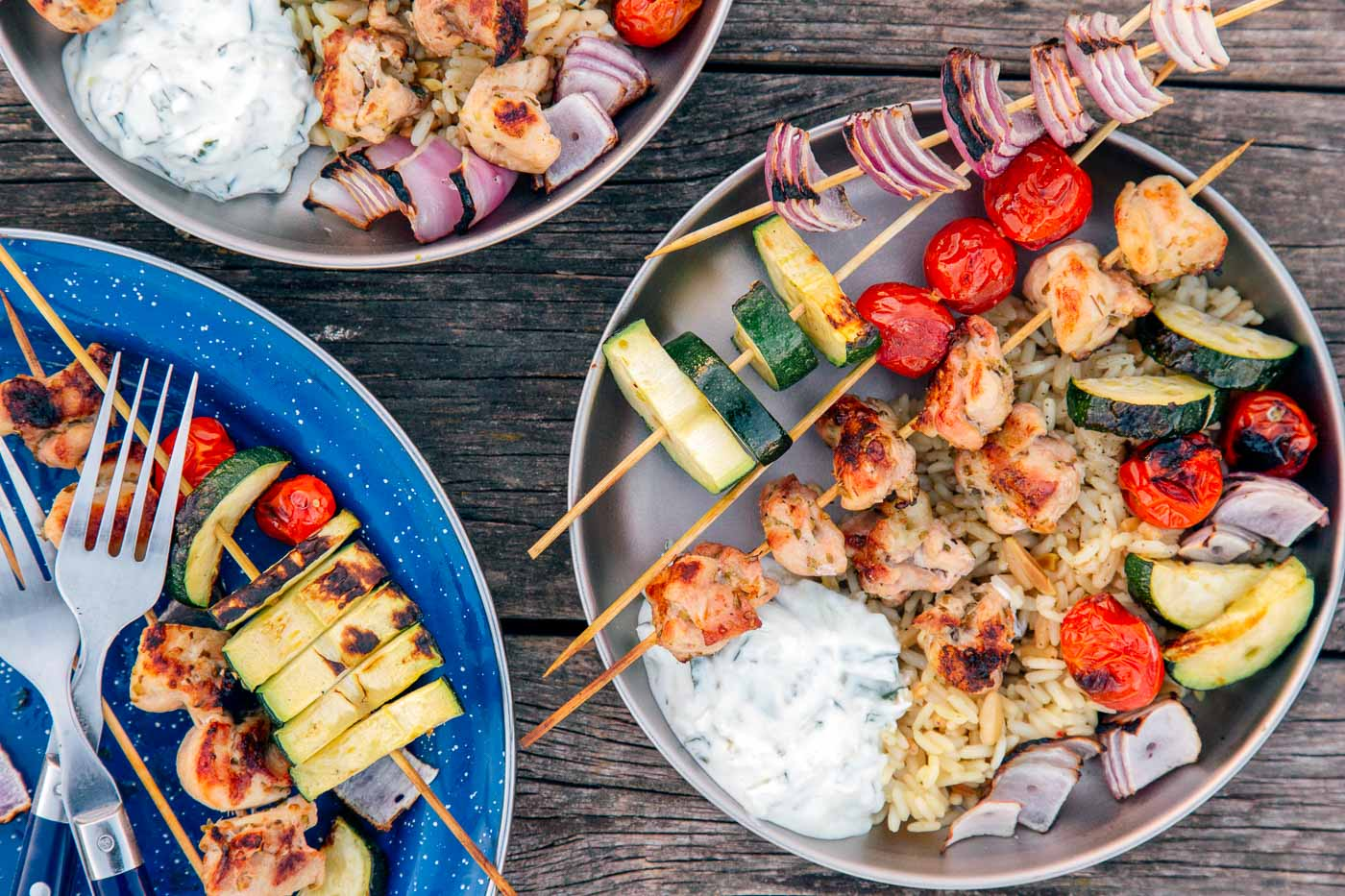 Grilled chicken kabobs on blue and silver camping plates.
