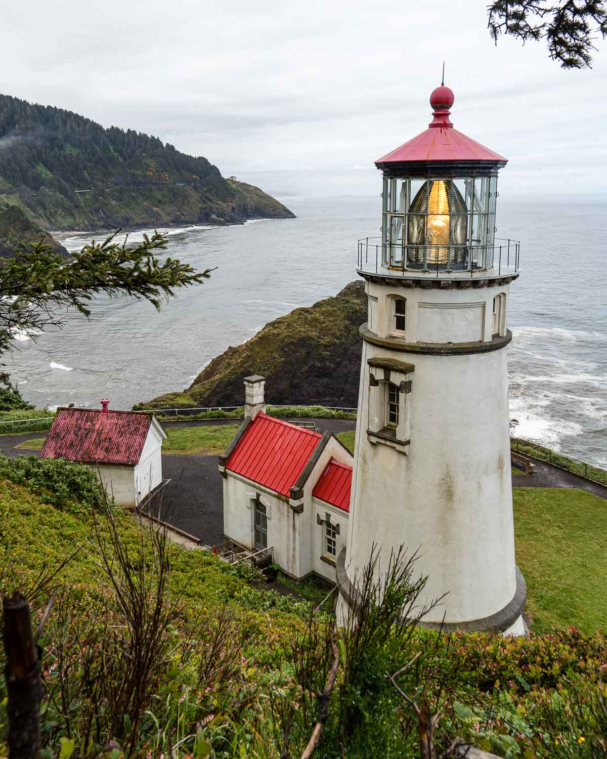 The Haceta Head lighthouse on a bluff