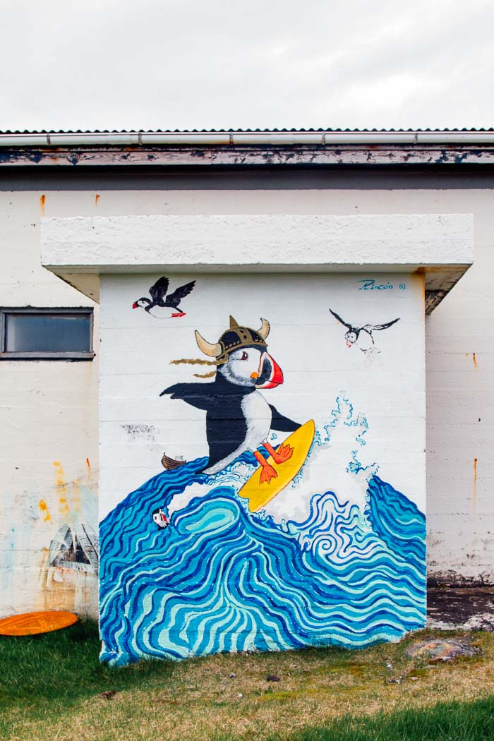 Mural of a surfing puffin wearing a viking hat in Hellissandur Iceland