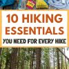 """Pinterest graphic with text overlay reading """"Hiking 10 Essentials you need for every hike"""""""