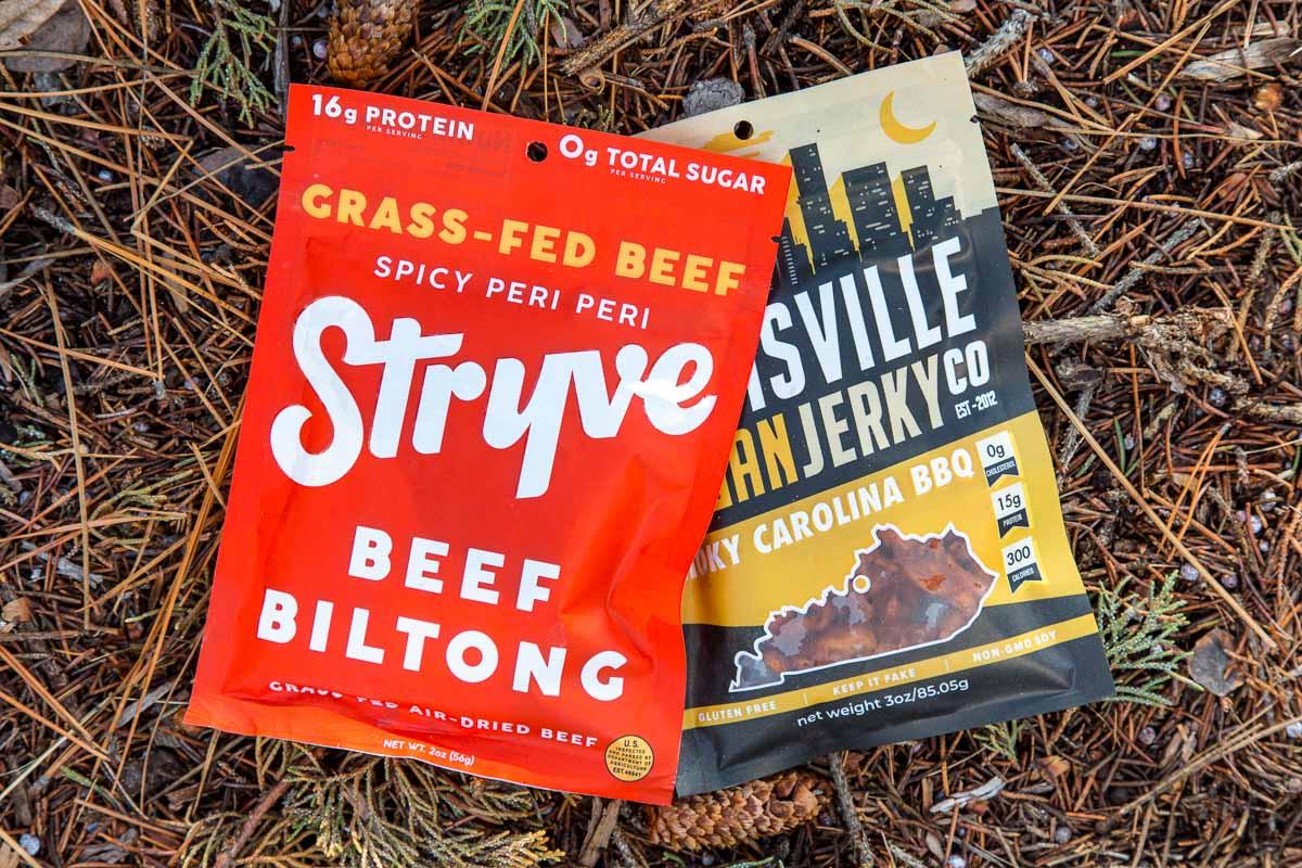 A bag of stryve jerky and louisville vegan jerky