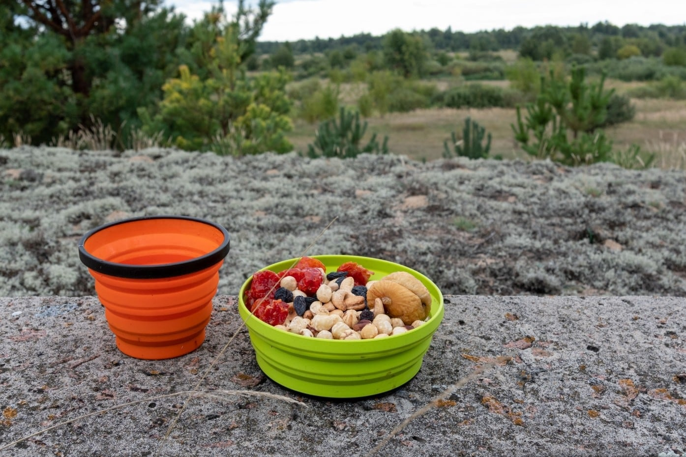 Nuts and dried fruit in a green bowl on a rock