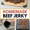 "Pinterest graphic with text overlay reading ""Homemade beef jerky"""