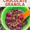 "Pinterest graphic with text overlay reading ""Homemade Chocolate Granola"""