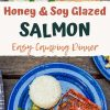 """Pinterest graphic with text overlay reading """"Honey and soy glazed salmon easy camping dinner"""""""
