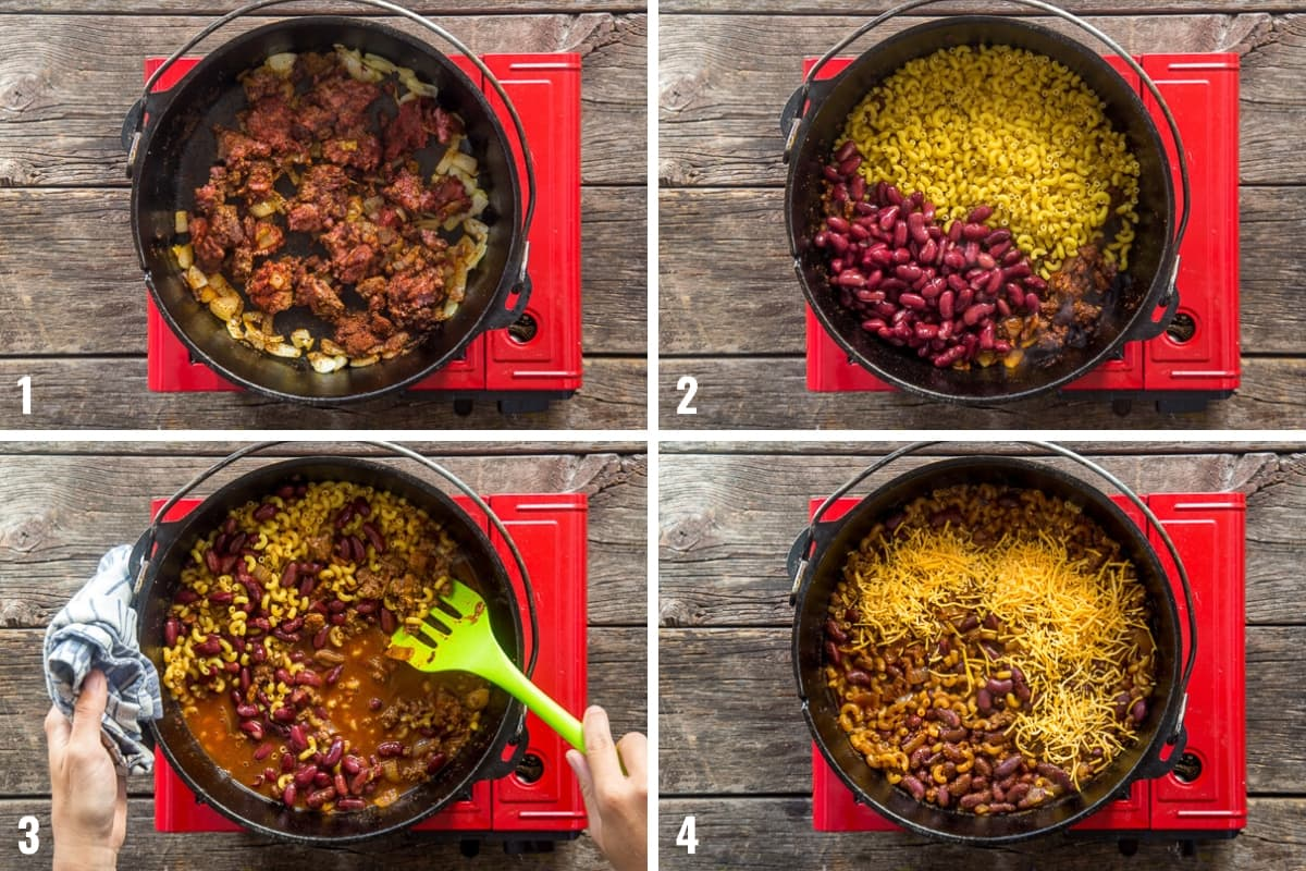 Step by step photos illustrating how to make chili mac