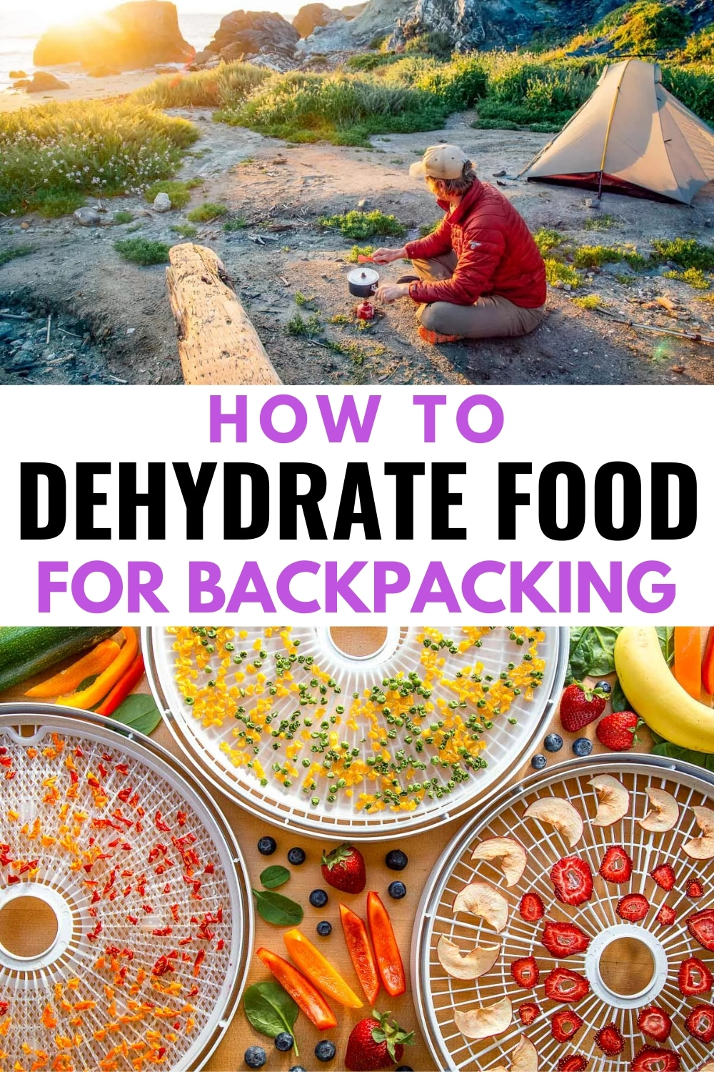 Learn how to make your own dehydrated food for backpacking! In this guide, we'll show you everything you need to know to start dehydrating food including dehydrated fruit, vegetables, beans, and meat. Storage tips, rehydrating, how to use it, recipes and more! via @freshoffthegrid
