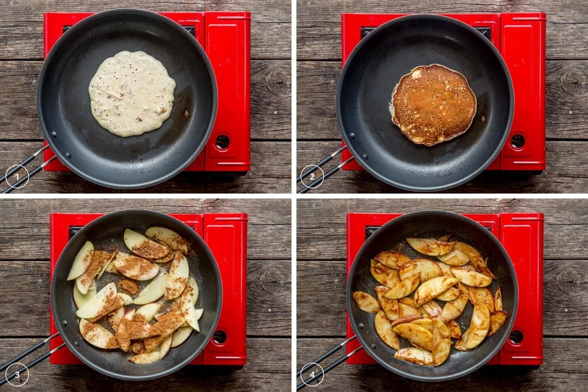 How to make cinnamon apple pancakes step by step photos