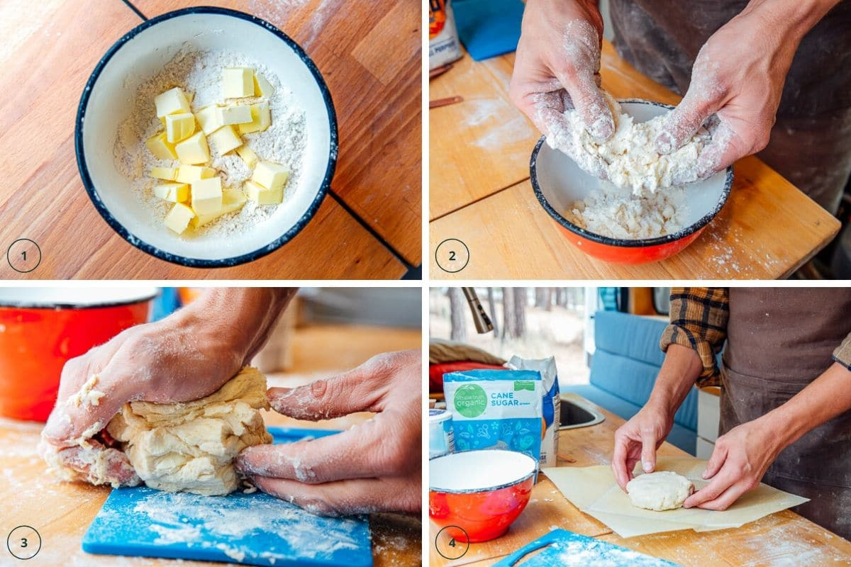 Incorporating butter into flour and sugar for pie crust