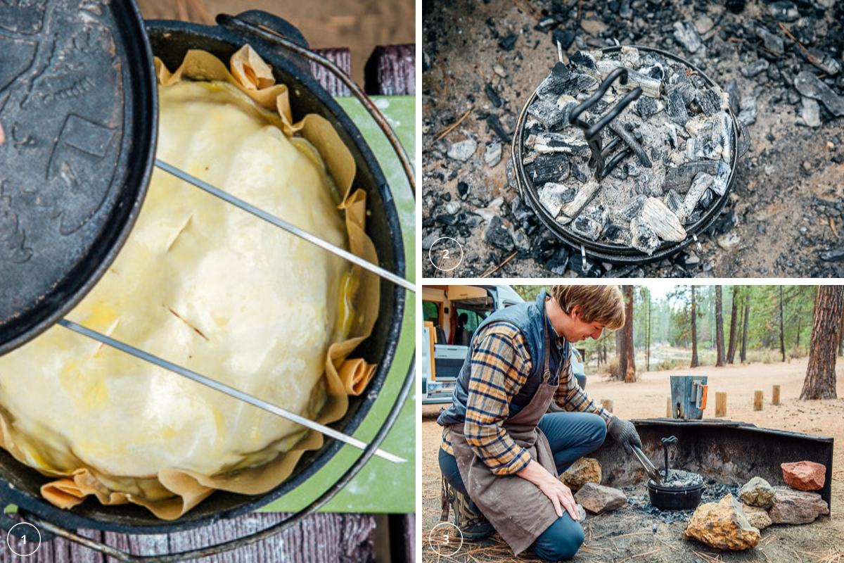 Cooking pie in a campfire ring in a Dutch oven