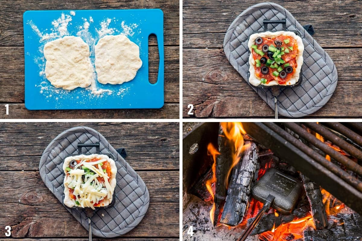 Step by step photos of how to make pie iron pizza