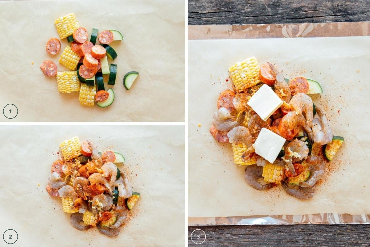 How to make shrimp boil foil packets step by step photos