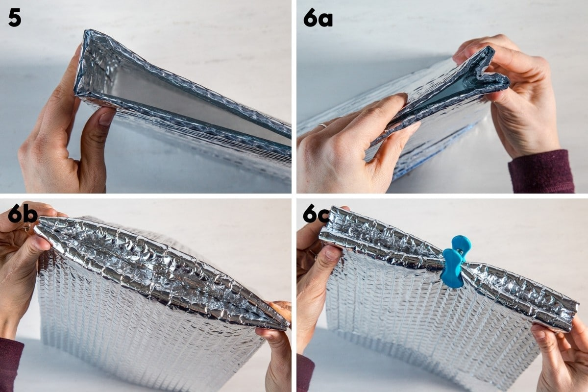 Folding the base of the meal pouch cozy