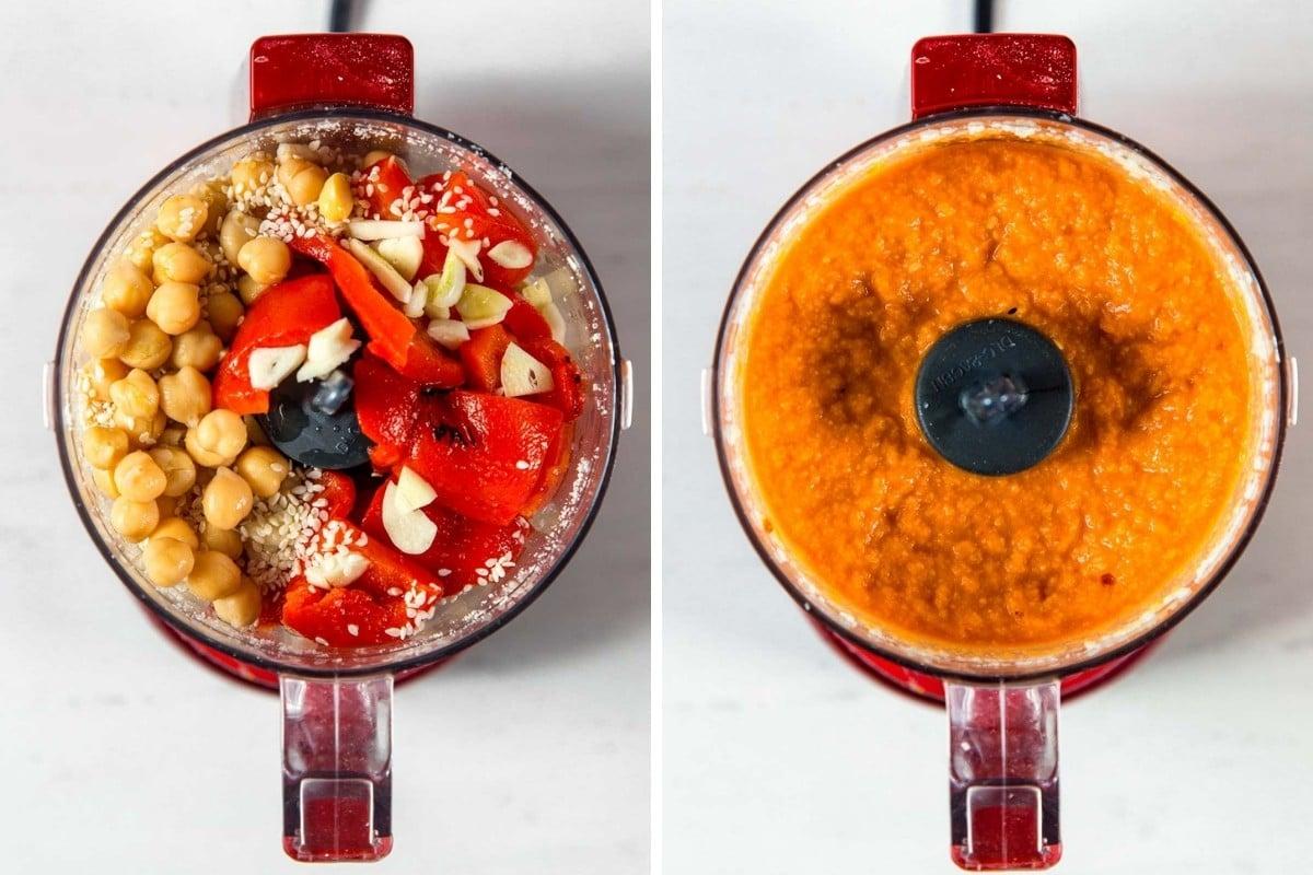 Image 1: Hummus ingredients in food processor. Image 2: Blended hummus.