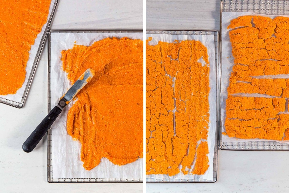 Image 1: Hummus spread on a dehydrator sheet with an offset spatula. Image 2: Dehydrated hummus on sheet