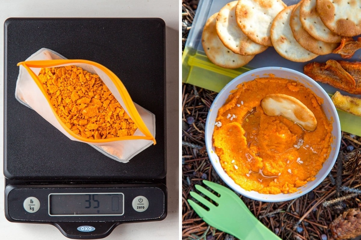 Image 1: Dehydrated hummus in a bag on a scale reading 35g. Image 2: Prepared hummus on a trail