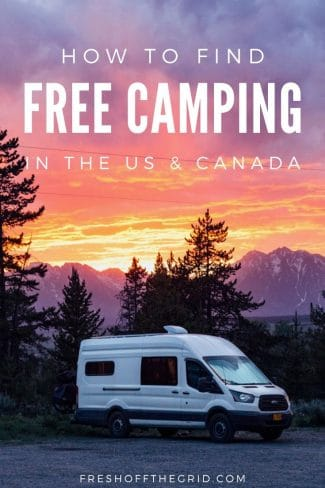 """Pinterest graphic with text overlay reading """"How to find free camping in the US and Canada"""""""