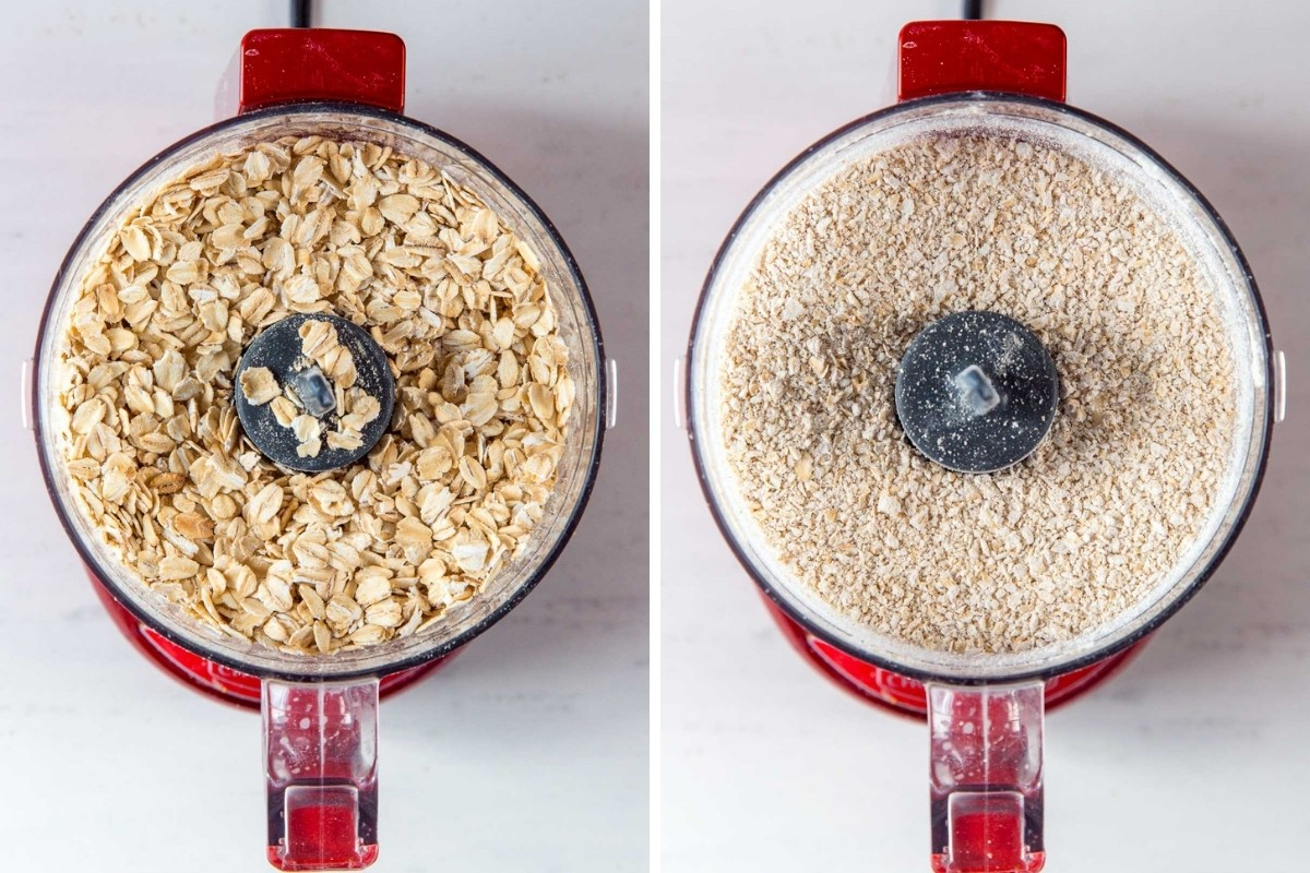 Image 1: Rolled oats in a food processor. Image 2: Pulverized oats in a food processor.