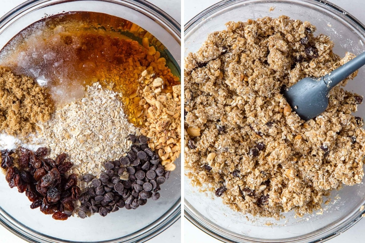 Image 1: Granola bar ingredients in a mixing bowl. Image 2: Ingredients combined in the bowl.