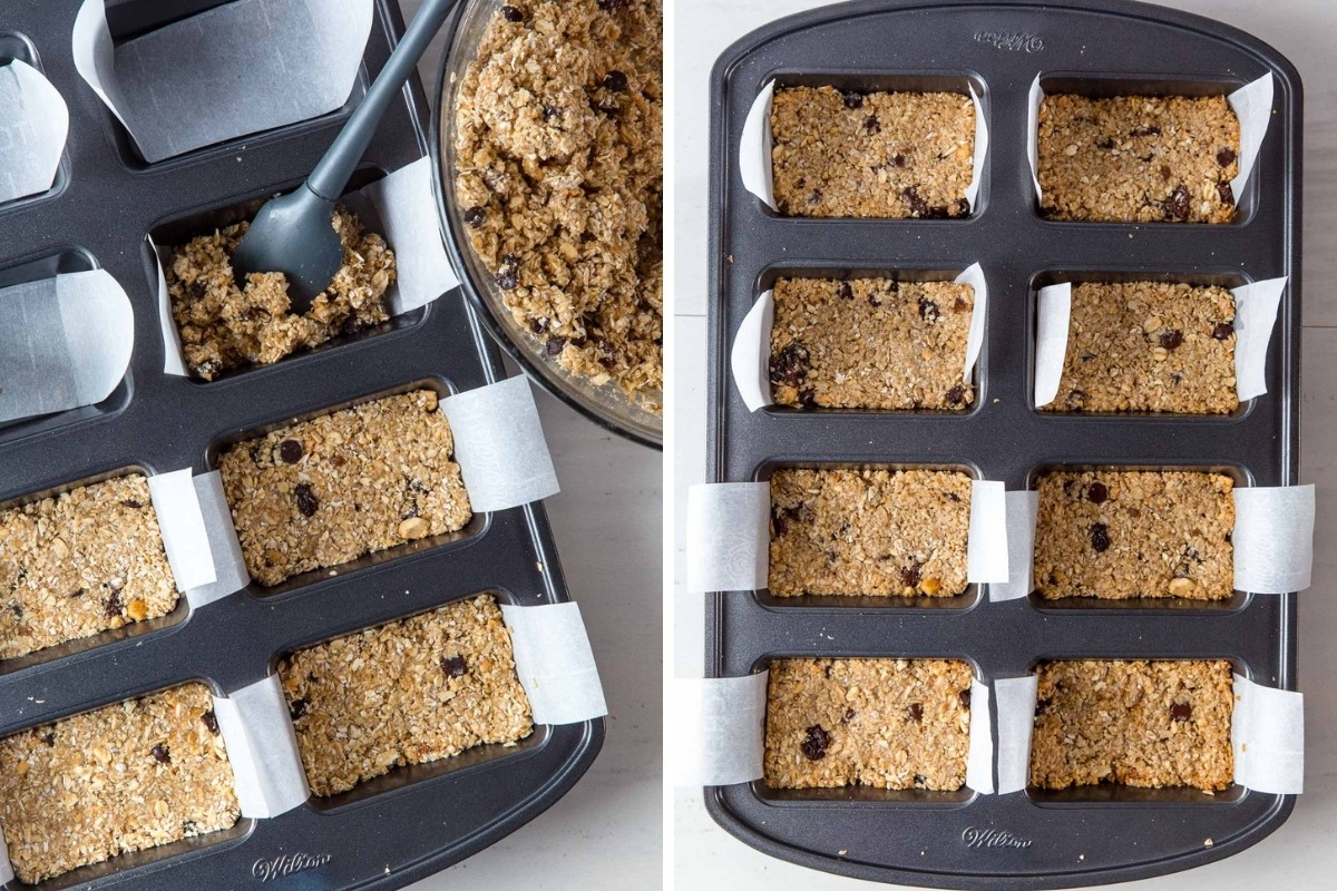 Image 1: Filling a mini loaf pan with granola bar mixture. Image 2: Granola bars baked until golden on top.