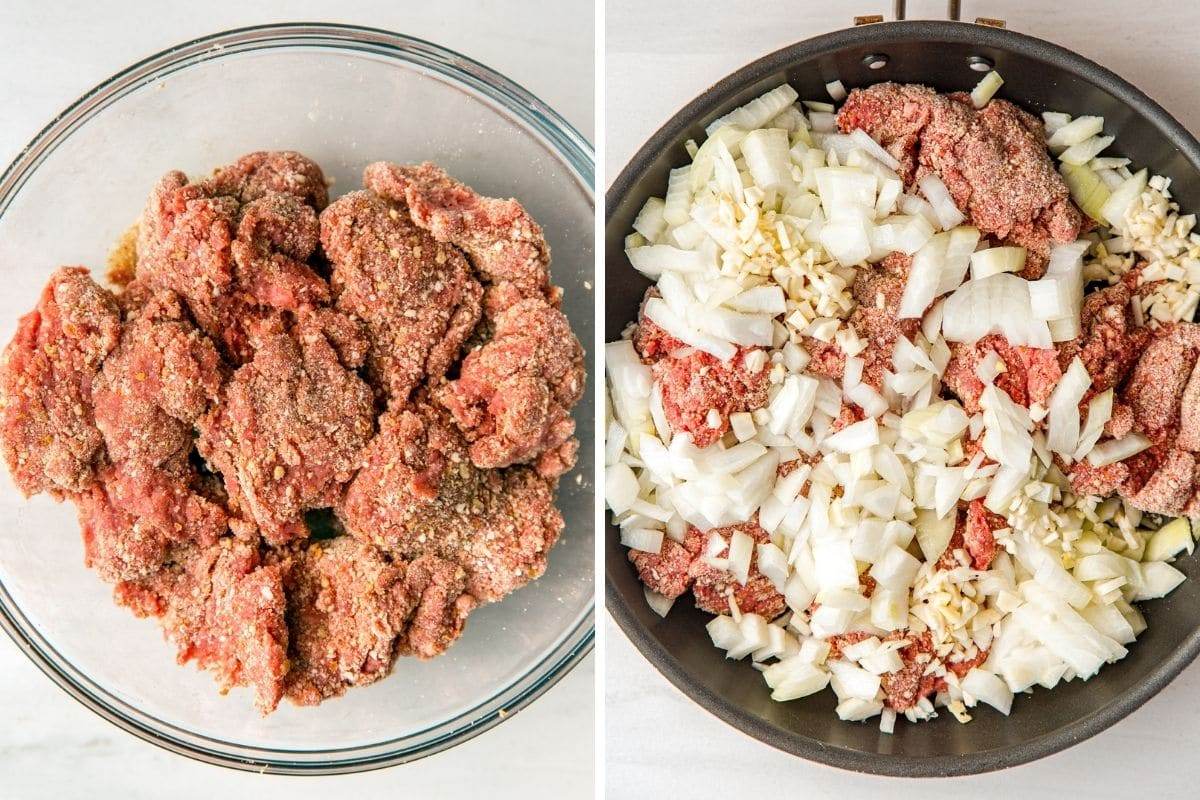 Left: Bread crumbs mixed into ground beef. Right: Ground beef, diced onion, and minced garlic in a skillet