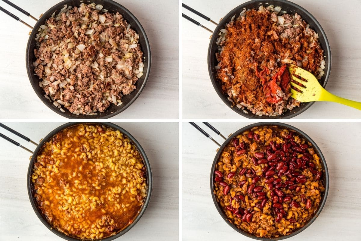 1: Browned ground beef in skillet. 2: Adding spices and tomato paste to skillet. 3: Adding broth and macaroni noodles. 4: The macaroni is cooked and beans are added to the skillet.