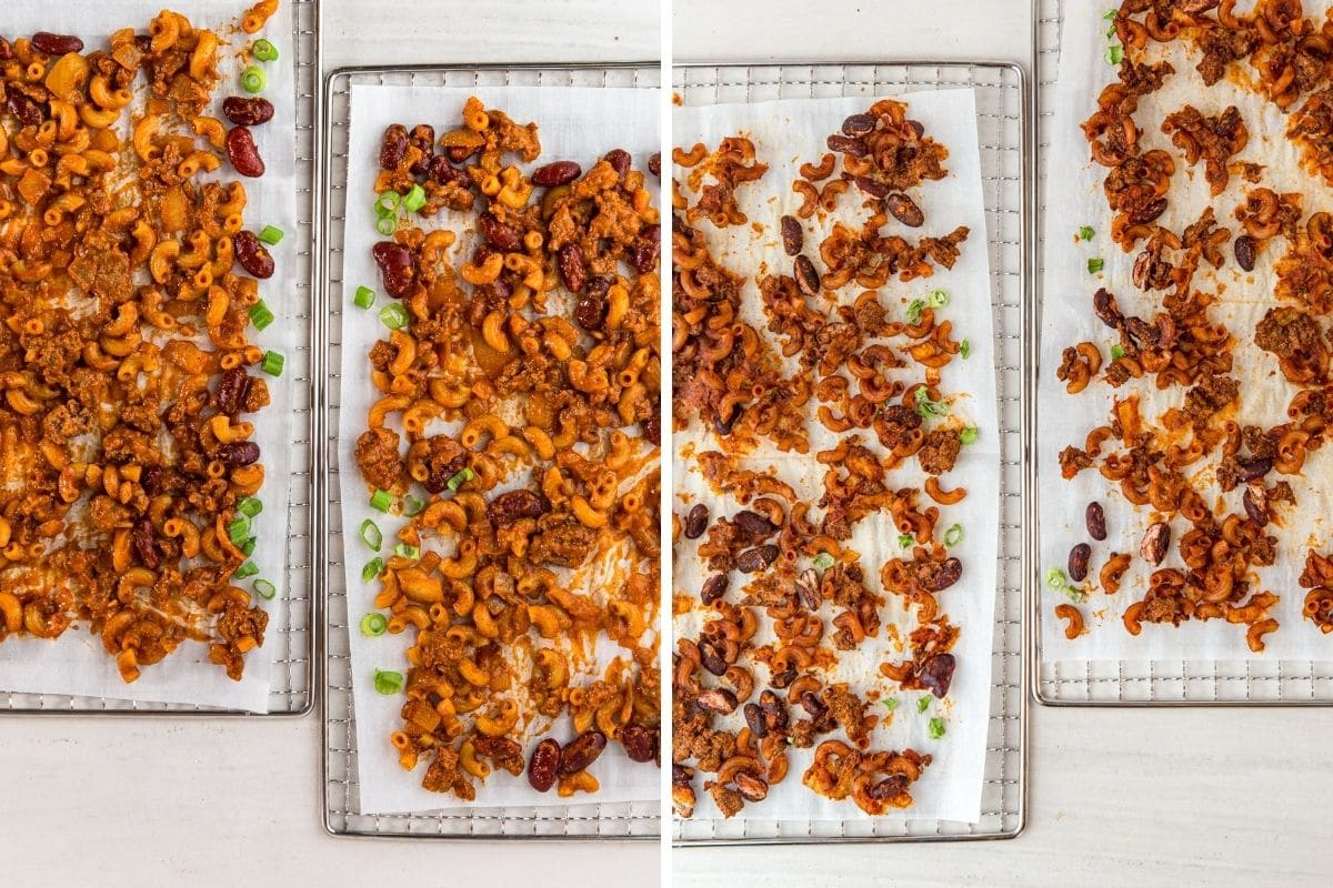 Left: Chili mac on dehydrator trays. Right: Chili mac that has been dehydrated.