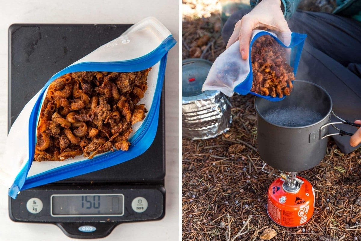 Left: 150g chili mac in a bag on a scale | Right: Megan pouring chili mac from a bag into a pot