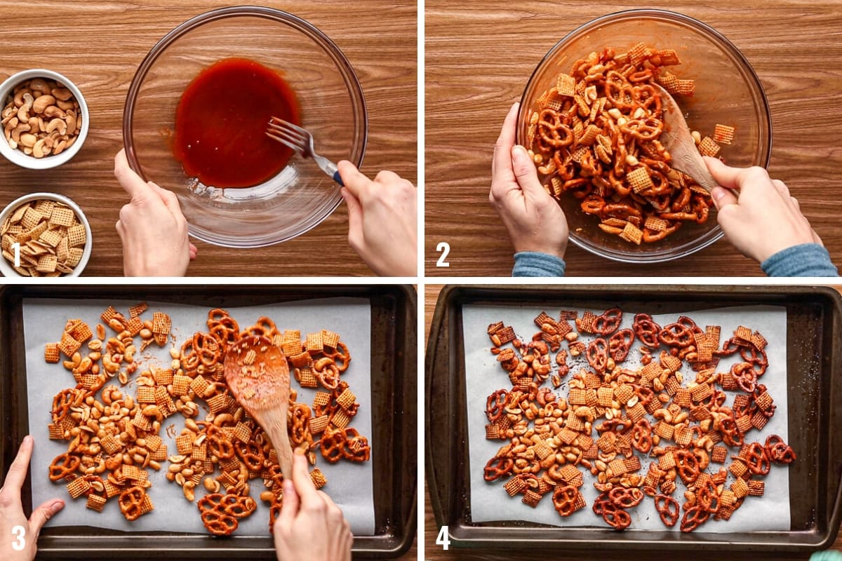Step by step photos illustrating how to make Sriracha trail mix