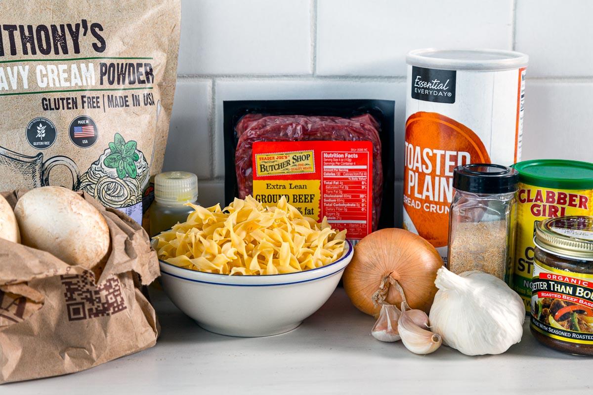 Ingredients for beef stroganoff