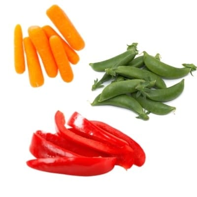 Carrots snap peas and bell pepper