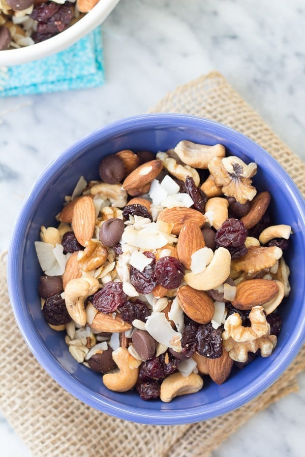 Trail mix in a blue bowl
