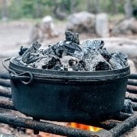 Dutch oven with coals on the lid