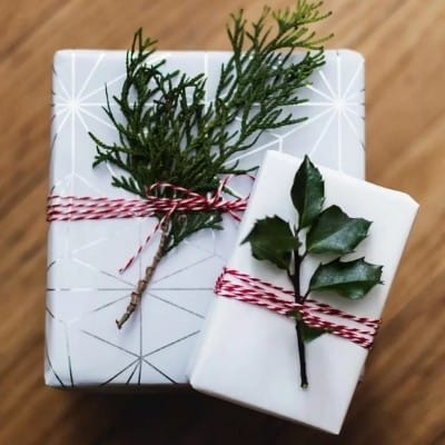 Two giftwrapped packages.