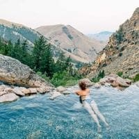 Megan in a hot spring
