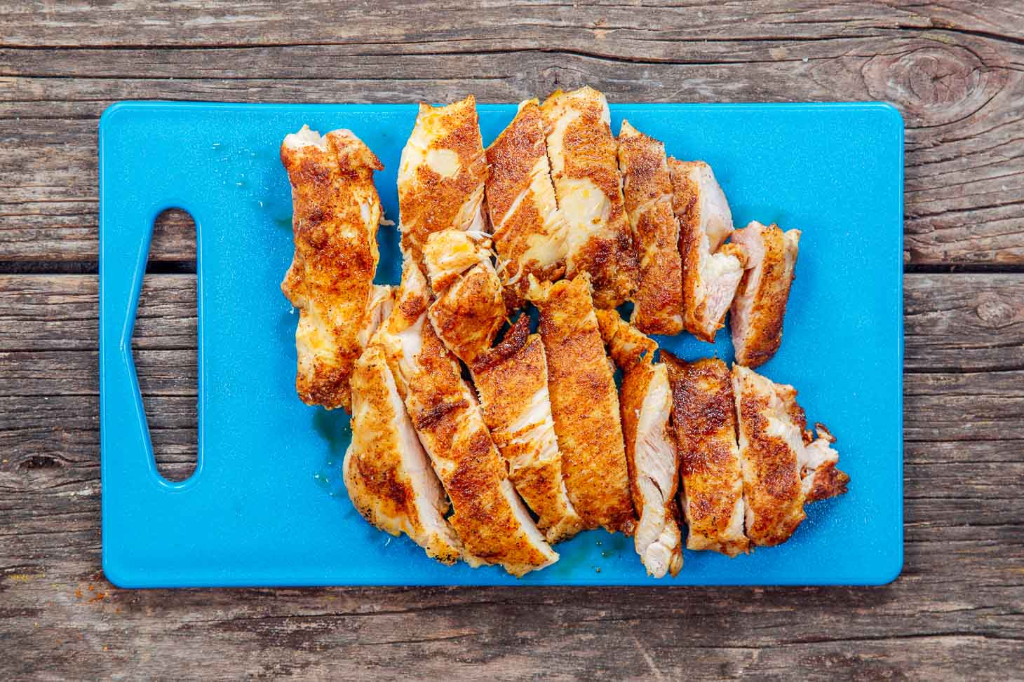 Moroccan spiced chicken on a cutting board