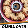 """Pinterest graphic with text overlay reading """"Omnia oven apple cobbler easy camping dessert"""""""