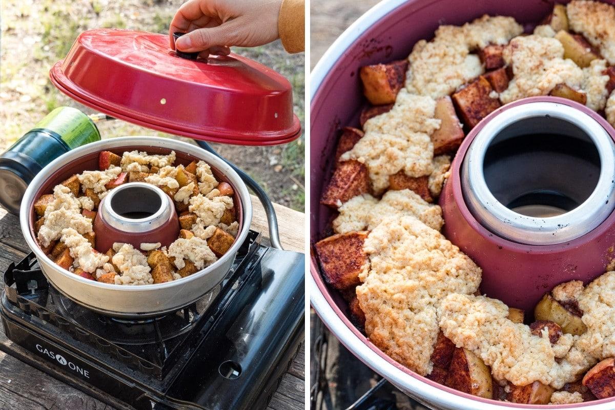 Megan placing a lid on the omnia oven | Baked apple cobbler detail