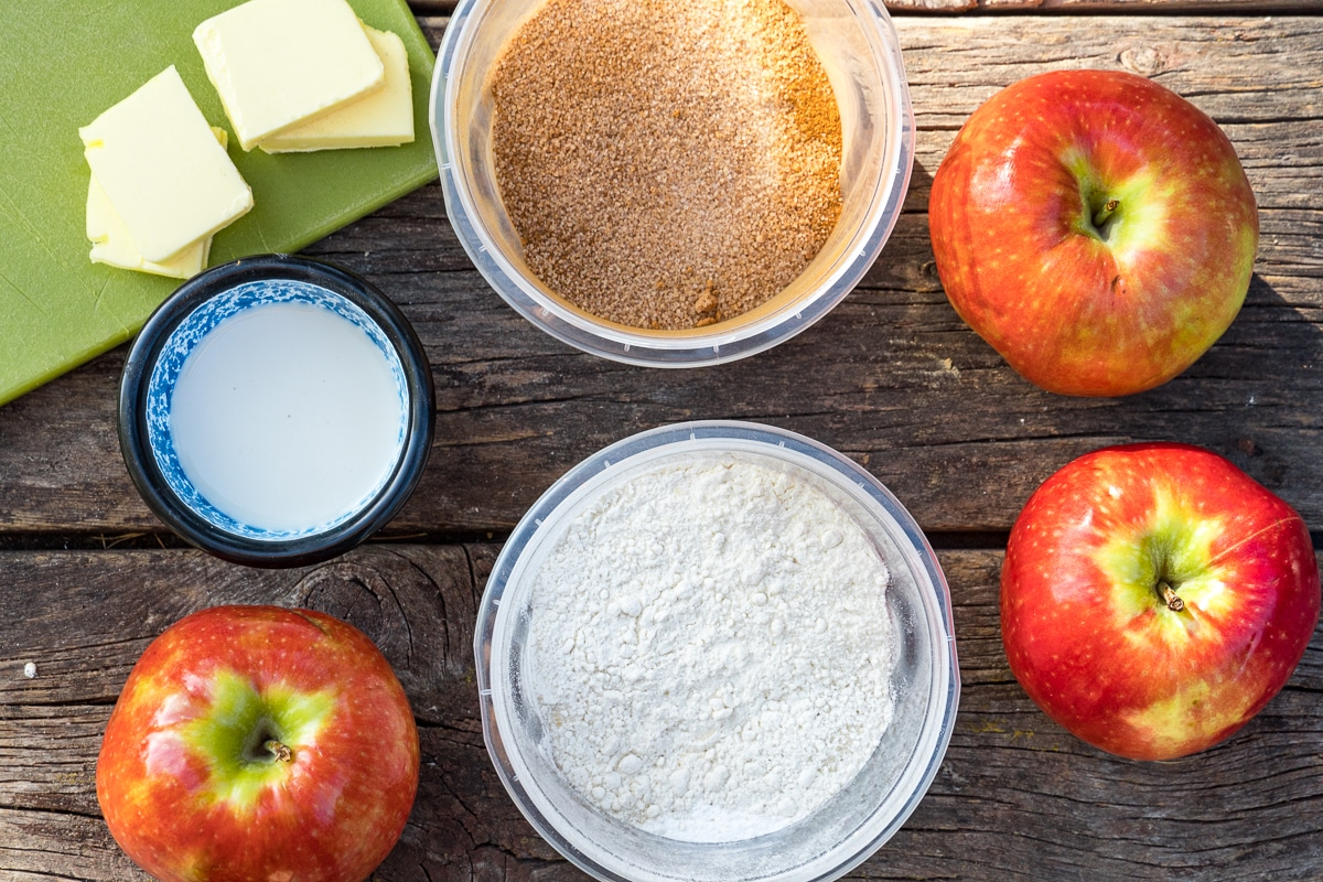 Ingredients for apple cobbler on a table