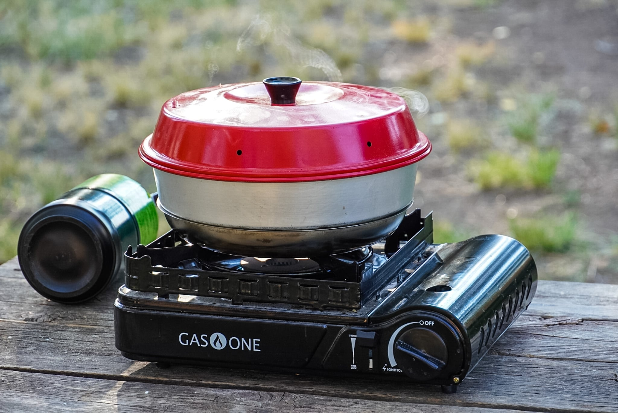 An omnia oven on a single burner camping stove