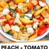"""Pinterest graphic with text overlay reading """"Peach and tomato panzanella"""""""