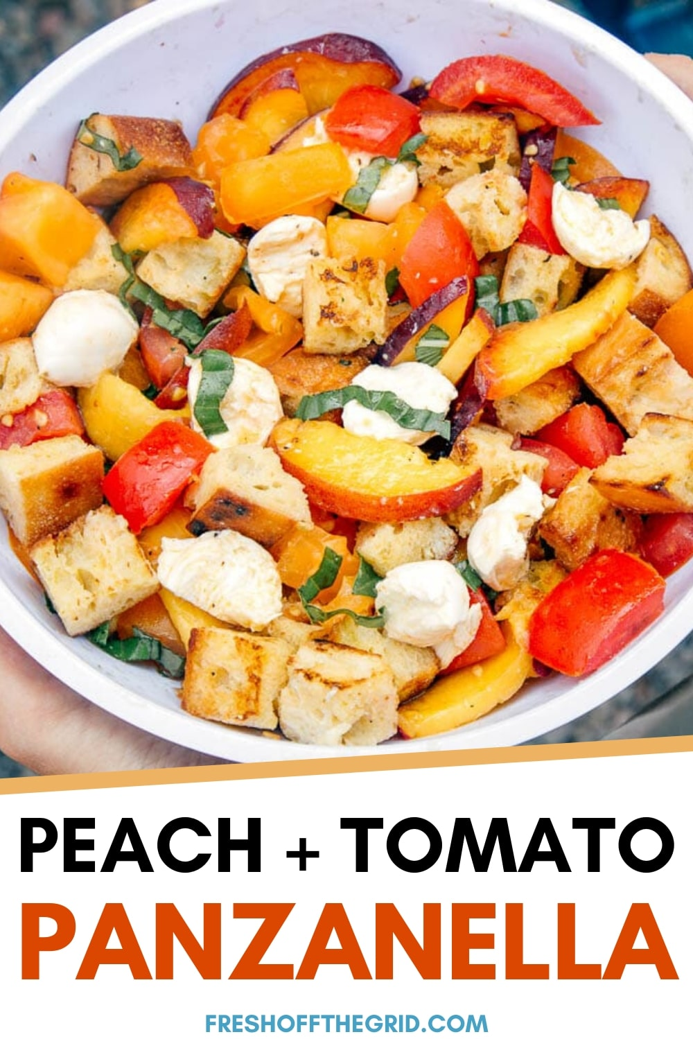 This panzanella bread salad is like the greatest hits album of summer flavors. Fresh tomatoes, basil mozzarella, peaches all tossed together with a white wine vinaigrette. Perfect for camping trips or summer picnics and BBQs! Camping food | Summer entertaining via @freshoffthegrid