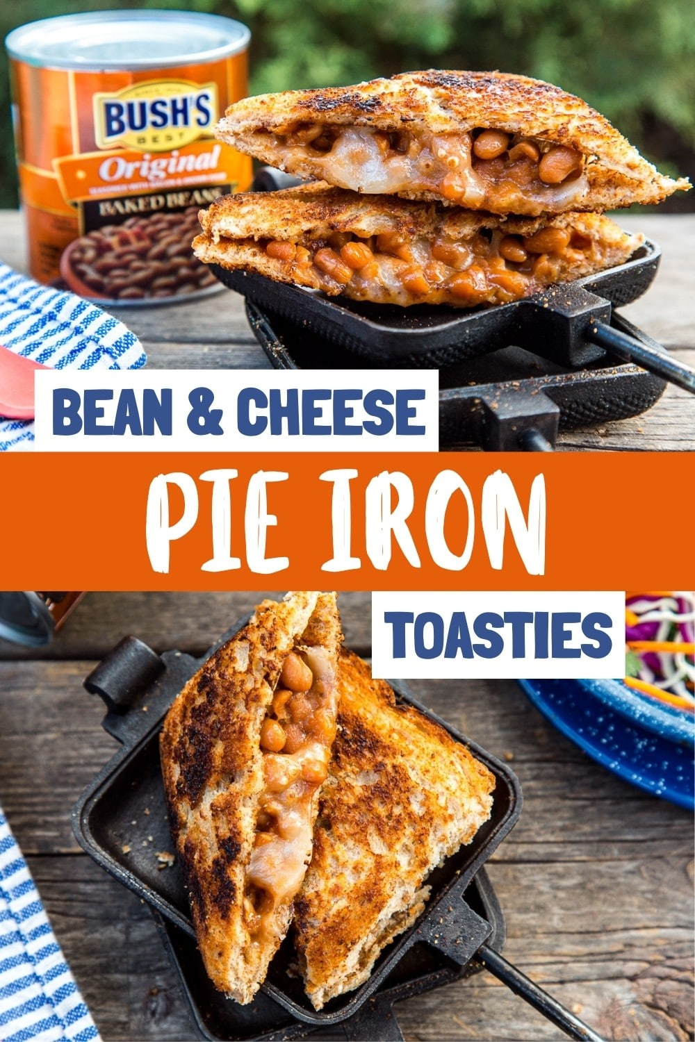 These Bean and Cheese Toasties are a great pie iron recipe to make on your next camping trip. Perfect for lunch or dinner, tangy baked beans and melty cheese are the perfect fillings for this campfire sandwich. via @freshoffthegrid