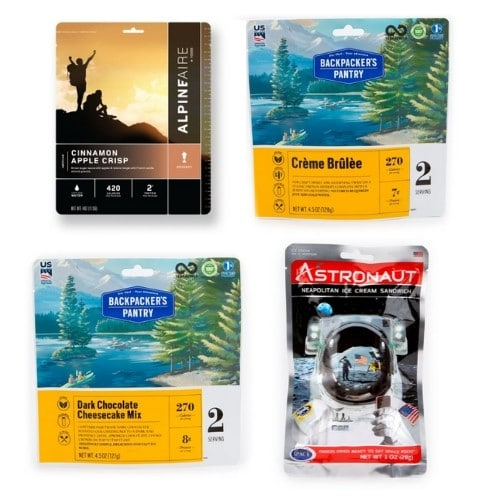 Assorted backpacking dessert packages
