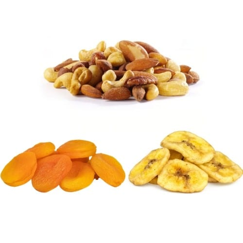 Nuts, apricots, and banana chips