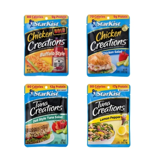 4 chicken and tuna pouches